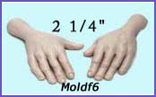 moldf6- 2 1/4 hand mold (front and back) for a 3 inch male face.
