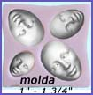 molda- 4 feminine faces with serene expressions, all in one mold