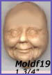 moldf19- Smiling Woman Face (Wise Woman, Mrs. Santa, Grandmother) 1 3/4 in.