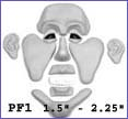 pf1- Puzzle face mold with Rugged Chin and Masculine Brow. Creates 1.5 in. to 2.25 in. faces.