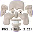 pf2- Puzzle face mold with Smiling Face and Elfin Ears. Creates 1.5 in. to 2.25 in. faces.
