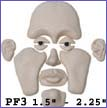 pf3- Puzzle face mold with Full Lips and Feminine Brow. Creates 1.5 in. to 2.25 in. faces.