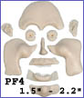 pf4- Puzzle face mold with Flashing Smile and 4 eye variations. Creates 1.5 in. to 2.25 in. faces.